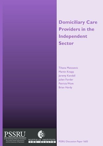 Domiciliary Care Providers in the Independent Sector