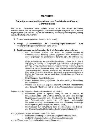 treuhandvertrag muster merkblatt stiftung elektro altgerte register - Treuhandvertrag Muster