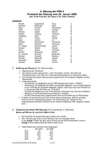 4. Sitzung der PBA 4 Protokoll der Sitzung vom 24. Januar 2008