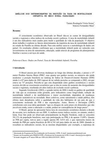 análise dos determinantes da redução da taxa de ... - Sober