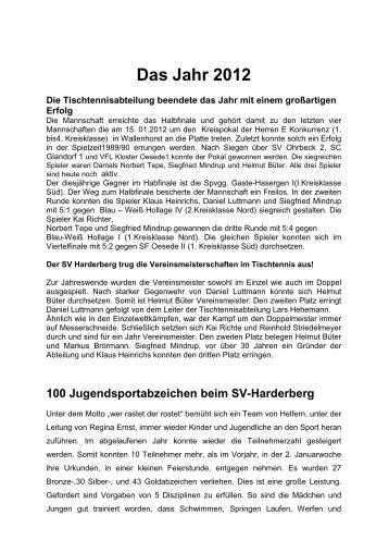 Chronik des Jahres 2012 - SV Harderberg von 1950 eV
