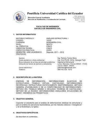 Analisis Estructural I - Pontificia Universidad Católica del Ecuador