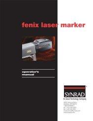 Fenix Laser Marker Operator's Manual - Synrad, Inc.