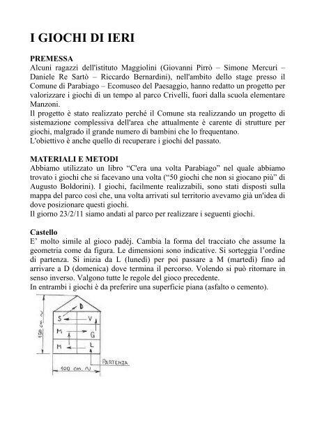 G., RE SARTO' D.: I giochi di ieri - Ecomuseo e Agenda 21 Parabiago