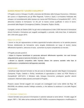 """SCHEDA PROGETTO """"LAVORO E SVILUPPO 4"""" - Promuovi Italia"""