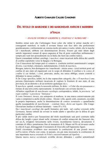 Del titolo di marchese di Alberto Gamaleri - Società Italiana di Studi ...