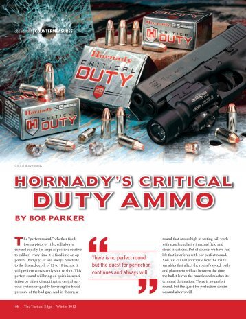 by bob parker hornady's critical duty ammo