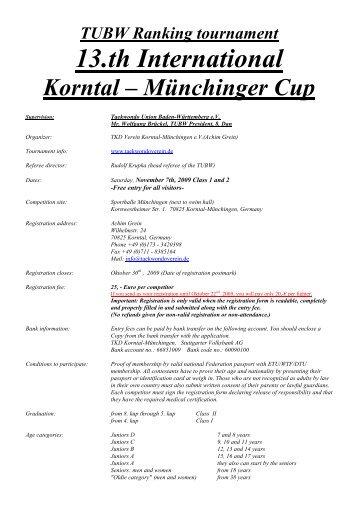 KM Cup 2003 - beim Taekwondoverein Korntal-Münchingen eV