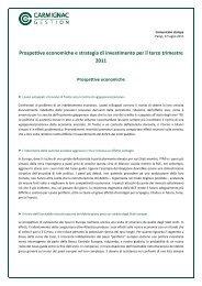 Prospettive economiche e strategia di investimento per il terzo ...