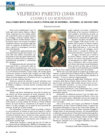 VILFREDO PARETO (1848-1923) - Banca Popolare di Sondrio