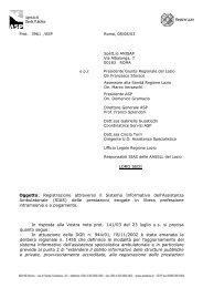 prot. n. 3961/ASP - Agenzia di Sanità Pubblica della Regione Lazio