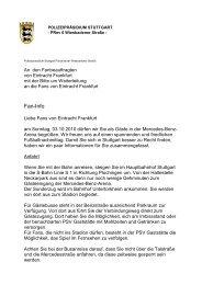 Faninfo der Polizei Stuttgart - Eintracht Frankfurt