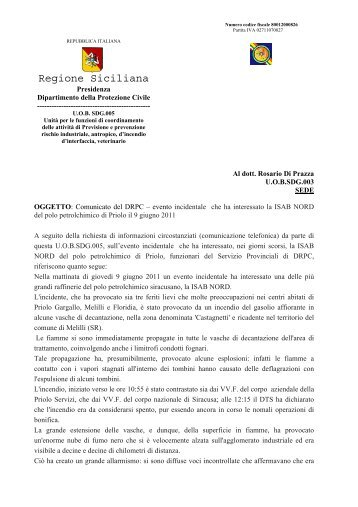 Evento incidentale che ha interessato la ISAB ... - Regione Siciliana