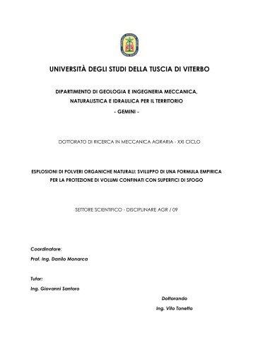 esplosioni di polveri organiche naturali - Unitus DSpace - Università ...