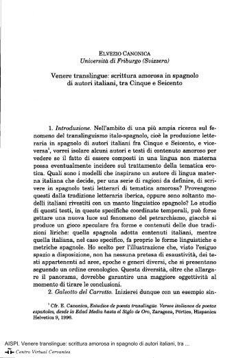 Venere translingue: scrittura amorosa in spagnolo di autori italiani ...