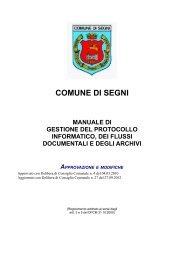 Manuale di gestione Protocollo Informatico - Comune di Segni