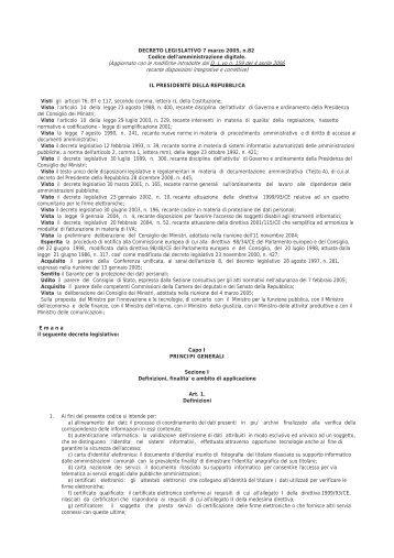 D.Lgs 7 marzo 2005, n.82 - ScintLex