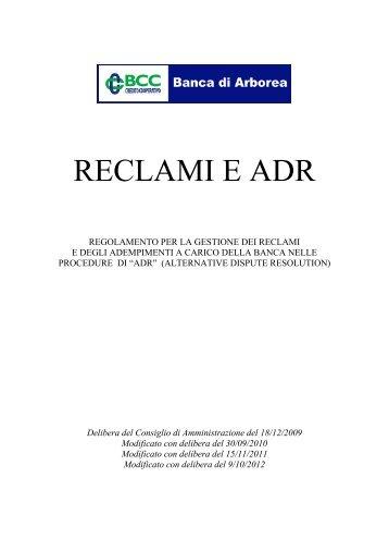 Regolamento Reclami e ADR - Banca di Arborea