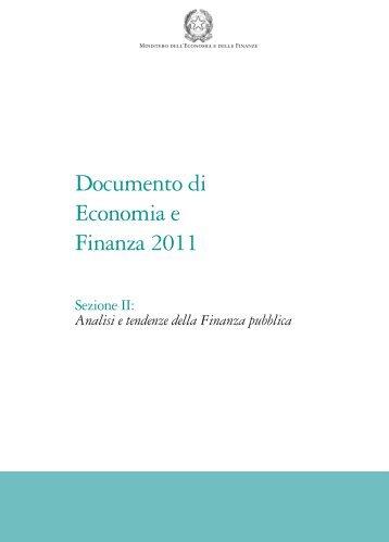 Documento di Economia e Finanza 2011 - Pubblicazioni ufficiali ...