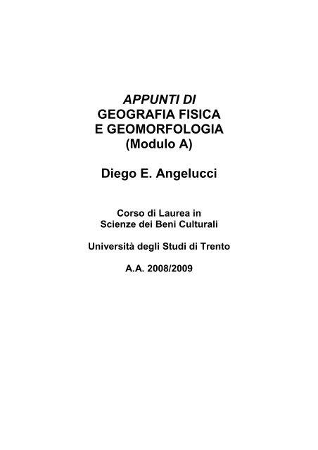 APPUNTI DI GEOGRAFIA FISICA E GEOMORFOLOGIA (Modulo A ...