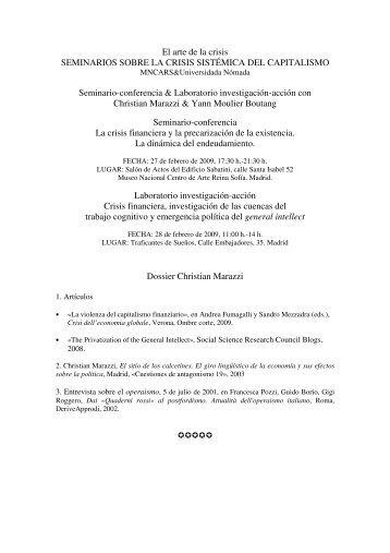 Christian Marazzi & Yann Moulier Boutang - Museo Nacional Centro ...