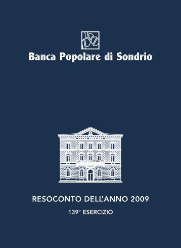 RESOCONTO DELL'ANNO 2009 - Banca Popolare di Sondrio