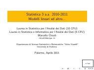 Statistica 3 a.a. 2010-2011 Modelli lineari ed altro... - Scienze ...