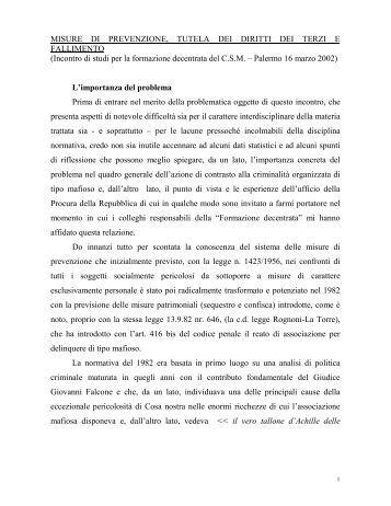 MISURE PREVENZIONE E FALLIMENTO.pdf - Progetto Innocenti