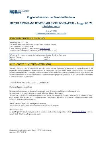 F.I.0230 Mutui artigiani ipotecari e chirografari (Artigiancassa)