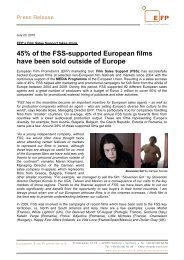 45% of the Fss-supported European films have been sold outside of ...