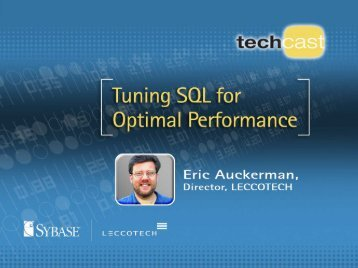 Tuning SQL for Optimal Performance - Sybase