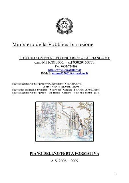 """P O F 2008 - 2009 - Istituto Comprensivo """"Scotellaro"""" - Tricarico"""