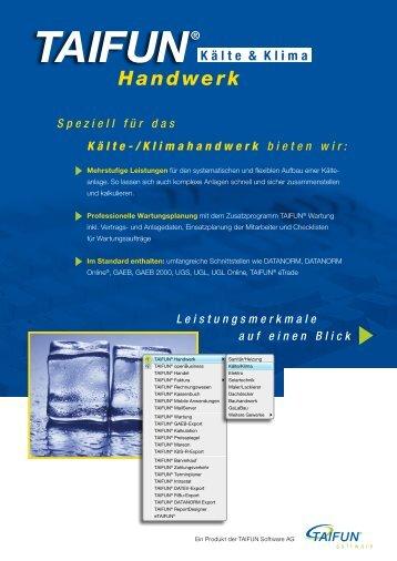 TAIFUN Handwerk, Beilage Kälte-/Klima 2009 - Taifun Software AG