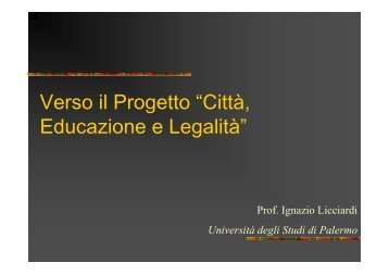 """Verso il Progetto """"Città, Educazione e Legalità"""" - descrittiva"""