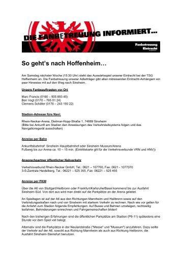 So geht's nach Hoffenheim… - Eintracht Frankfurt