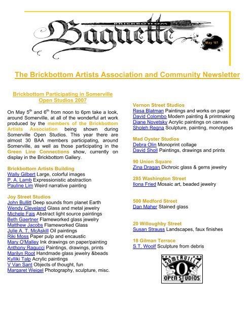 May 2007 - Brickbottom Artists Association