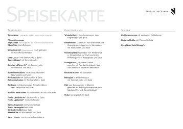 Tageskarte Hauptgerichte Suppen - Gasthaus zum Schwan