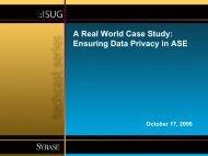 ISUG Techcast - A Real World Case Study: Ensuring Data ... - Sybase