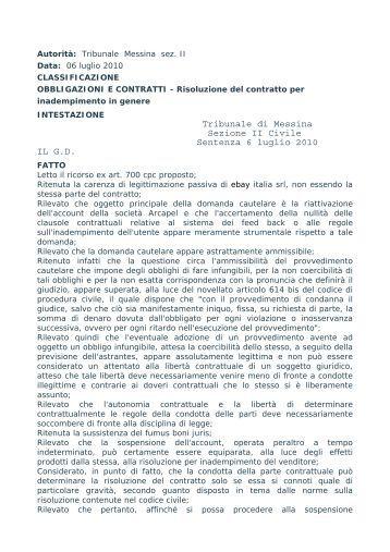 Tribunale di Messina Sezione II Civile Sentenza 6 luglio ... - WebDieci
