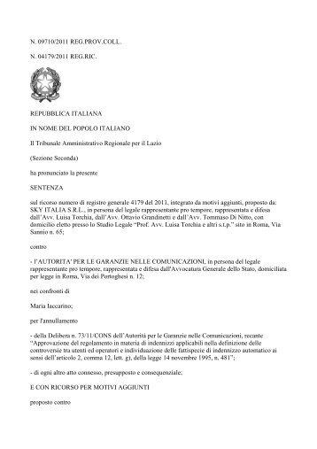 Sentenza del TAR del Lazio n. 9710/11 SKY ... - Corecom Marche