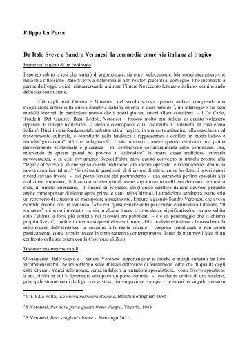 Filippo La Porta Da Italo Svevo a Sandro Veronesi: la ... - WebLearn