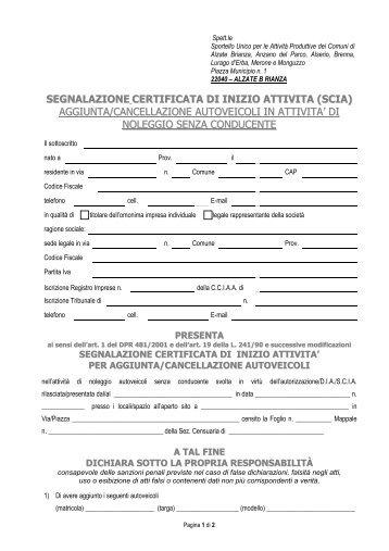 autonoleggio senza conducente - SCIA per agginta-cancellazione ...