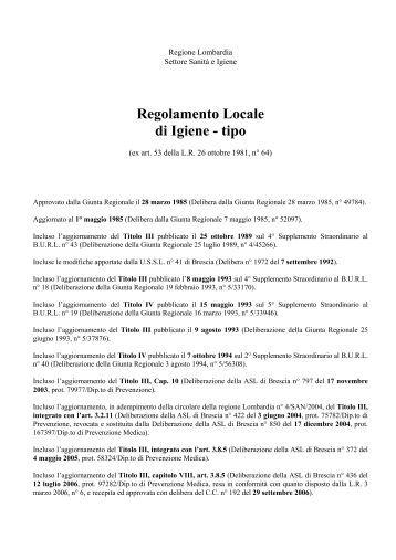 Regolamento locale di igiene regione lombardia titolo iii for Regolamento igiene milano