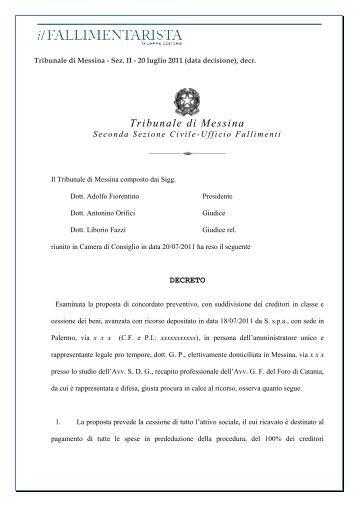 Tribunale di Messina - ilFALLIMENTARISTA