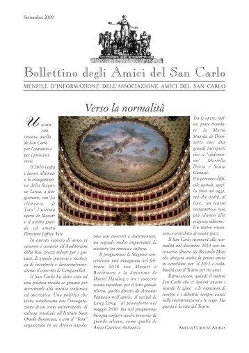 Bollettino ottobre 2009 - 16 pagg. - Associazione Amici del San Carlo