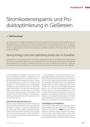 Stromkostenersparnis und Pro- duktoptimierung in Gießereien - Dr ...