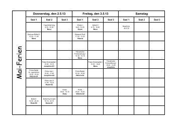 Pfingstferienplan 2013 - Tanzparterre
