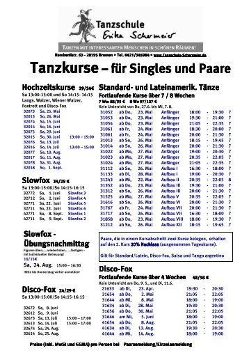 Standard/Latein und Disco-Fox - Tanzschule Erika Schermeier