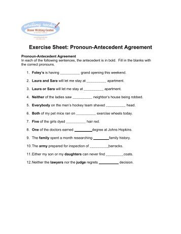 Printables Pronoun Antecedent Agreement Worksheet With Answers pronoun antecedent agreement worksheets with answers exercise on errors answers