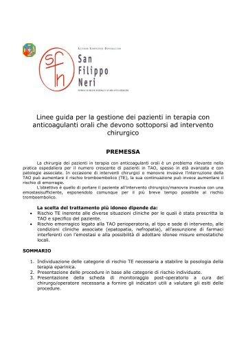 Linee guida per la gestione dei pazienti in terapia con ...